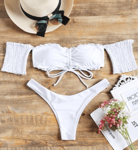 Sexy Off Shoulder Swimwear We Are Here For This Summer | Bathing Suit Set 2 | Chiclypoised.com