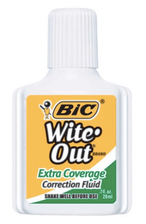 30 White Nail Polishes Under 10 Dollars | BIC Wite-Out Extra Coverage Correction | Chiclypoised.com