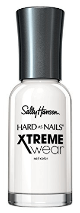 30 White Nail Polishes Under 10 Dollars | Sally Hansen Hard as Nails Xtreme Wear White On | Chiclypoised.com