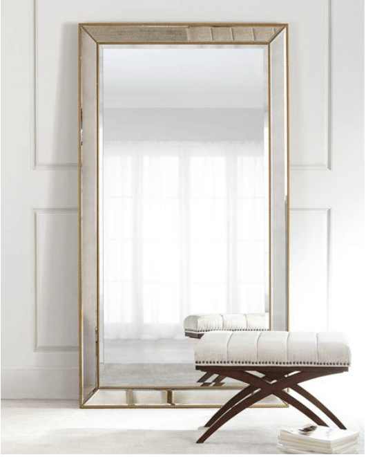 Improve Your Home Decor and Instagram Game With A Floor Mirror | Aldina Golden-Beaded Floor Mirror | Chiclypoised.com