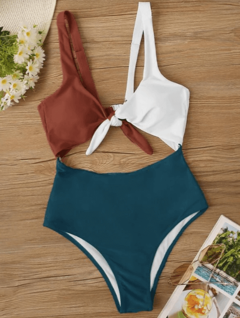 Multicolor Colorblock Tie Front Cut-out One Piece Swimsuit 1 of 2