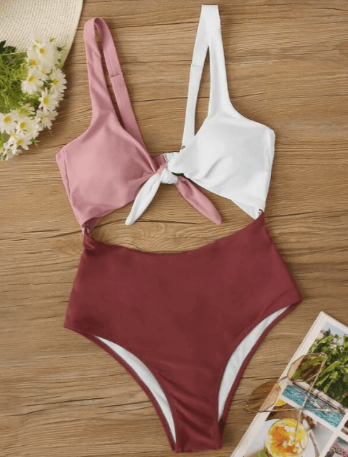 Multicolor Colorblock Tie Front Cut-out One Piece Swimsuit 2 of 2