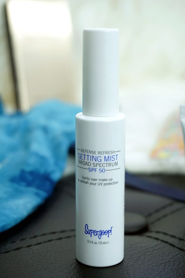SUPERGOOP! Defense Refresh Setting Mist Broad Spectrum SPF 50 Review | Chiclypoised.com