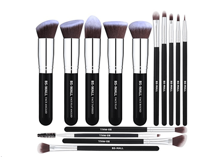 Black and Silver Makeup Brushes Set