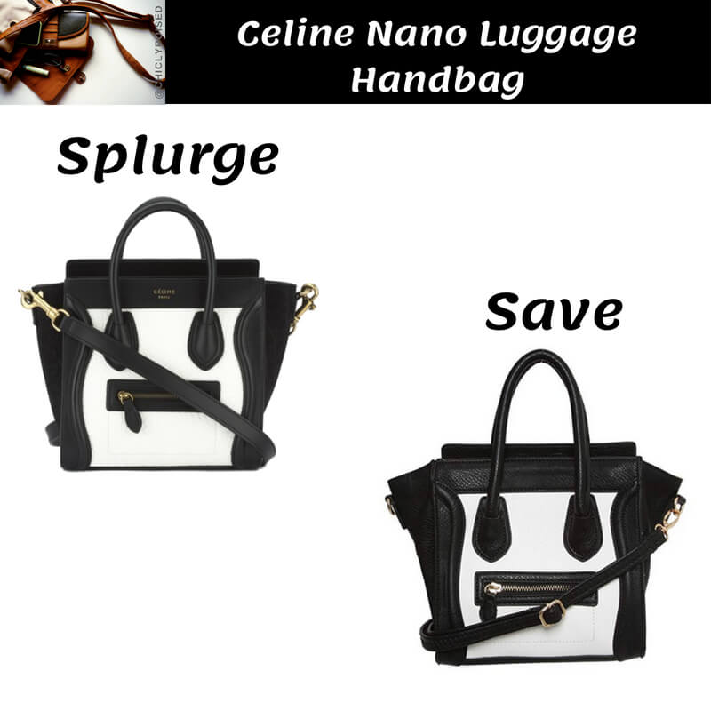 Celine Nano Luggage Black and White Handbag Dupe