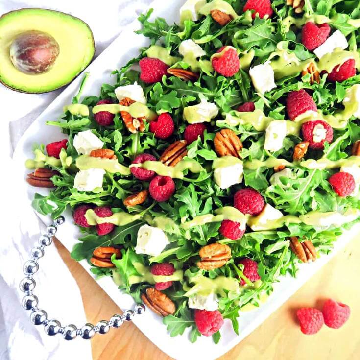 Raspberry Salad Recipe With Brite and Creamy Avocado Dressing
