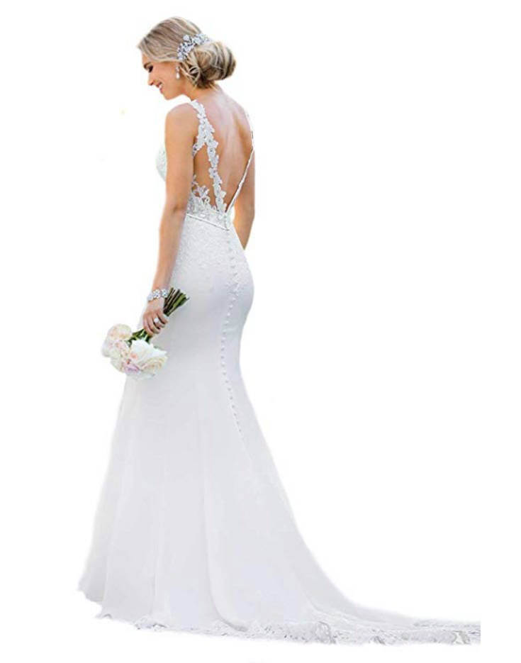 Backless Lace Mermaid Wedding Dress