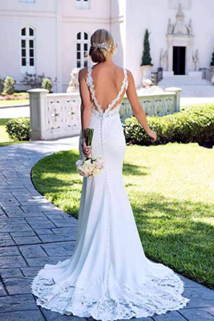 Beautiful Elegant Backless Lace Mermaid Wedding Dress