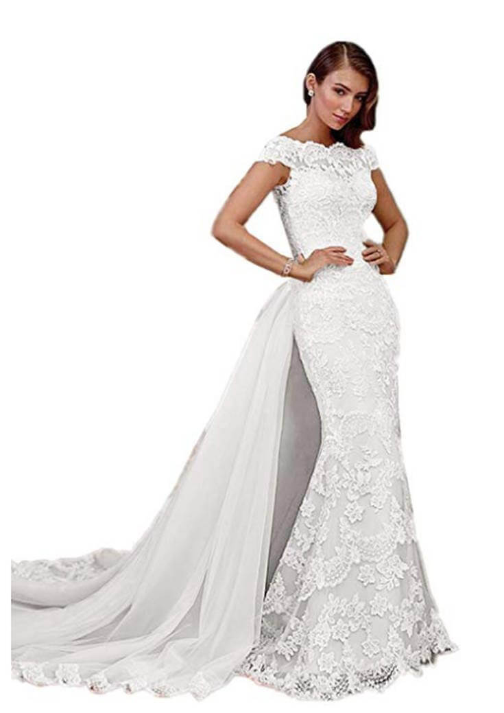 Beautiful Lace Mermaid Wedding Dress with Tulle Train