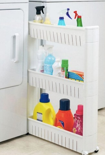 Narrow Sliding Laundry Storage Organizer Rack