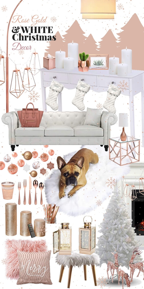 Rose Gold and White Christmas Decor