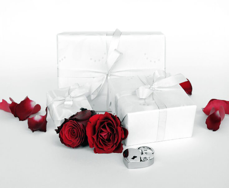 White Gift Wrap For Valentine's Day