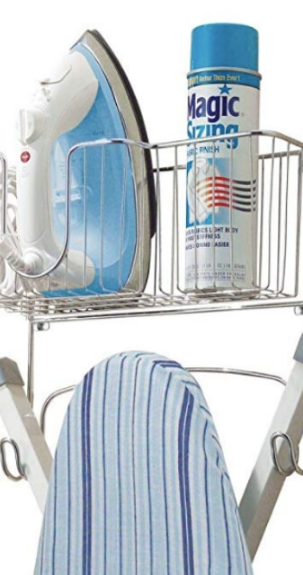 Wall Mount Ironing Board Holder with Usable Large Storage Basket