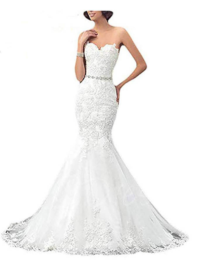 White Lace Mermaid Wedding Dress Under 150 Dollars