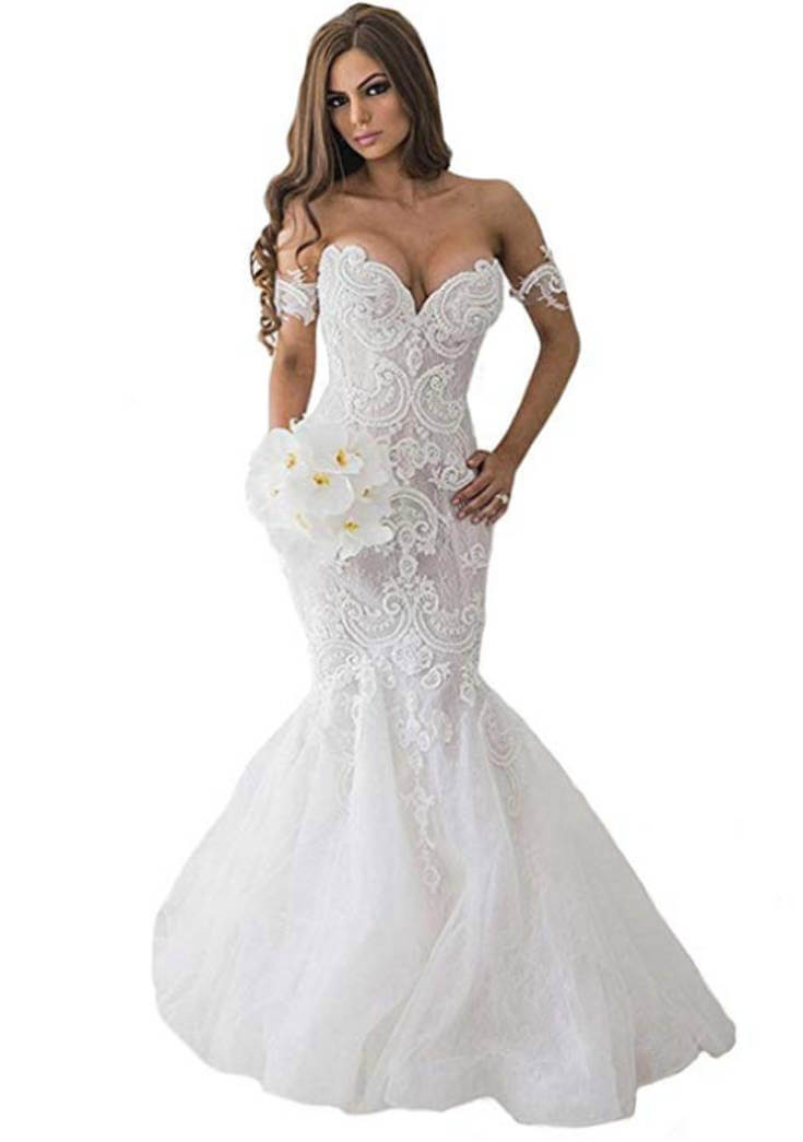 White Lace Sweetheart Mermaid Wedding Dress