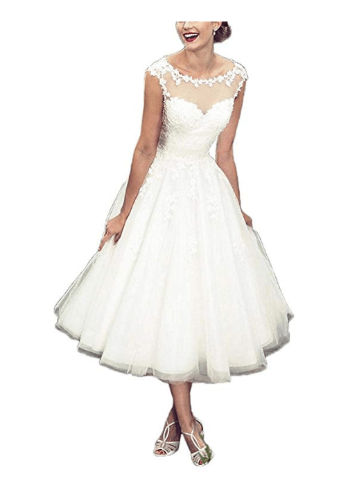 A-line Sheer Tea Length Lace Vintage Short Wedding Dress