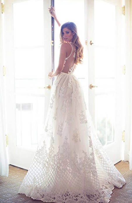 Cap Sleeve Backless Boho Wedding Dress Lace with Applique