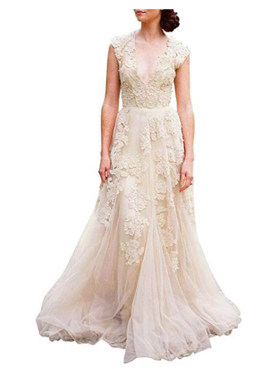Chiffon and Lace Bohemian Wedding Dress with Vintage Cap Sleeve