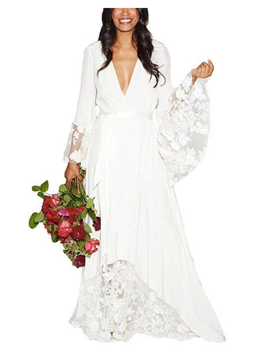 Chiffon and Lace Flower Bohemian Beach Wedding Dress with V Neck also Long Sleeves