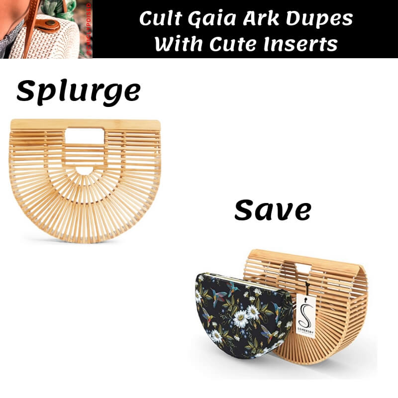 Cult Gaia Ark Bag Dupe with Black Floral Pattern Insert
