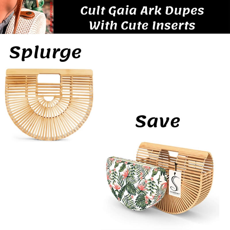 Cult Gaia Ark Bag Dupe with Bamboo Leaves Pattern Insert
