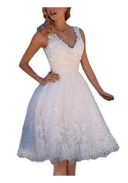 Floral Lace Knee-Length Short Wedding Dress