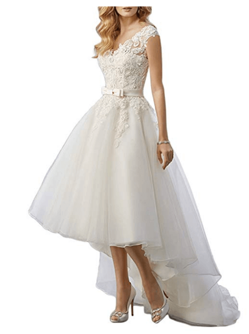 Lace High Low Short Tea Length Wedding Dress