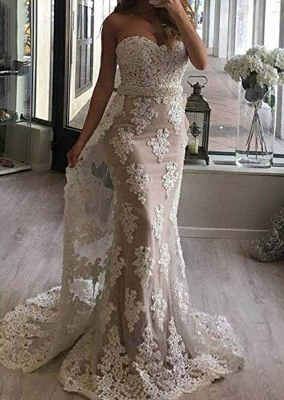 Lace Mermaid Wedding Dresses with Detachable Train