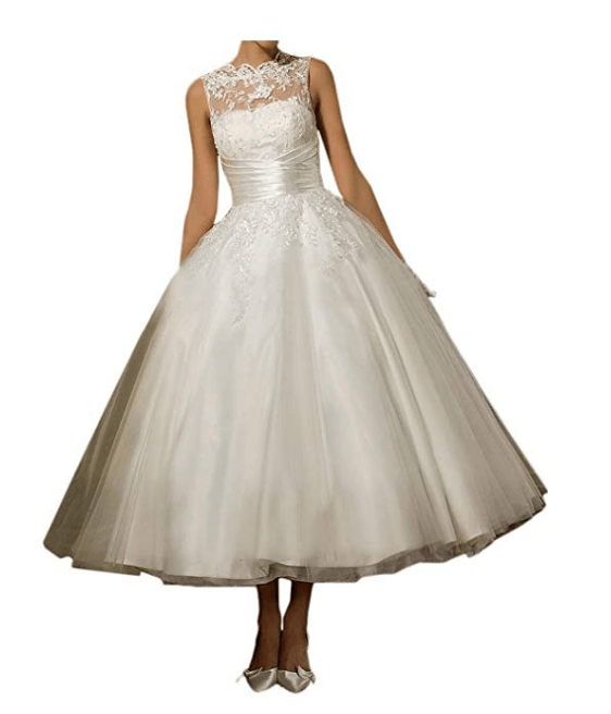 Lace Scoop Sleeveless Tea Length Tulle Bride Ball Gown Wedding Dresses