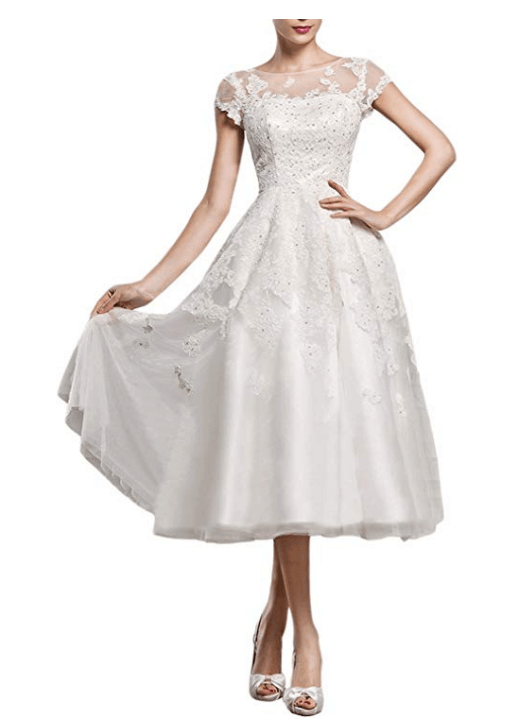 Lace Wedding Dress for Bride A Line Tea-Length Evening Dress