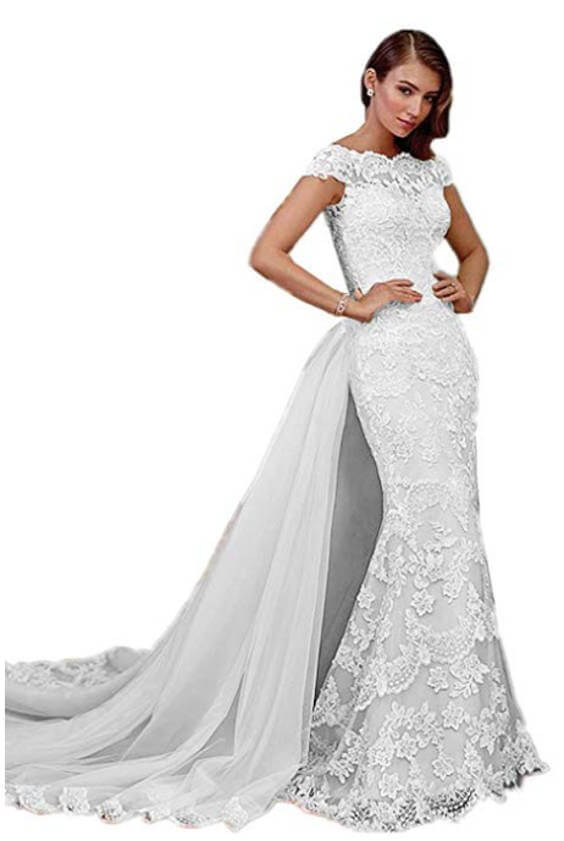 Long Mermaid Wedding Dresses with Removable Train