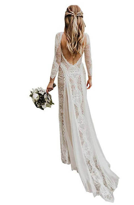 Long Sleeves Bohemian Lace Beach Wedding Dresses Under 200 Dollars