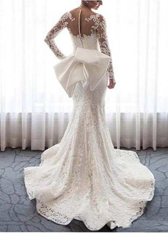 Long Sleeves Lace Mermaid and Ball Gown Wedding Dress With Detachable Train Back
