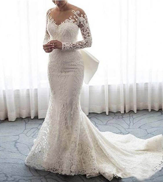 Long Sleeves Lace Mermaid and Ball Gown Wedding Dress With Detachable Train Front