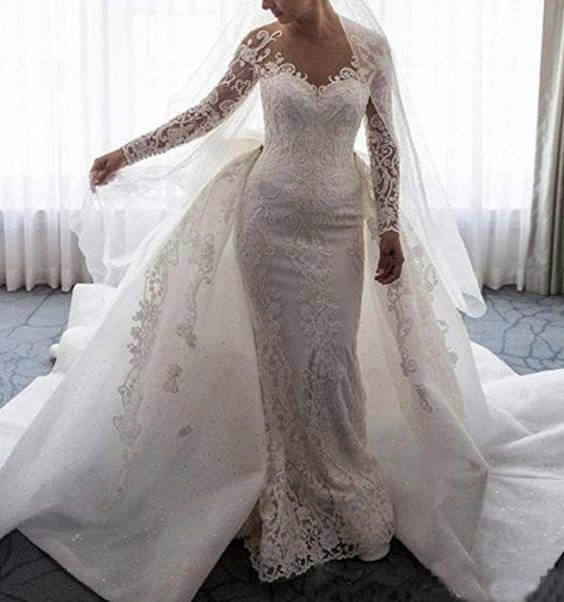 Long Sleeves Lace Mermaid and Ball Gown Wedding Dress