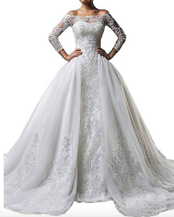 Long Sleeves Off-The-Shoulder Lace Mermaid Detachable Train Wedding Dress
