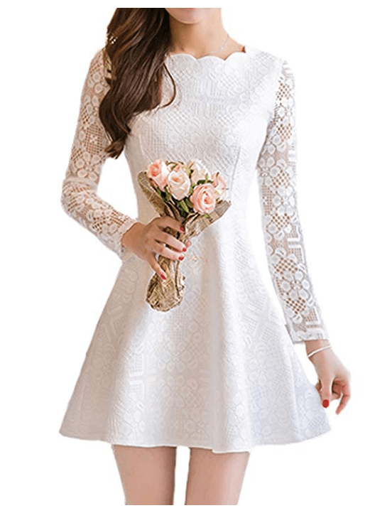Neckline Floral Crochet Lace Skater Wedding Dress