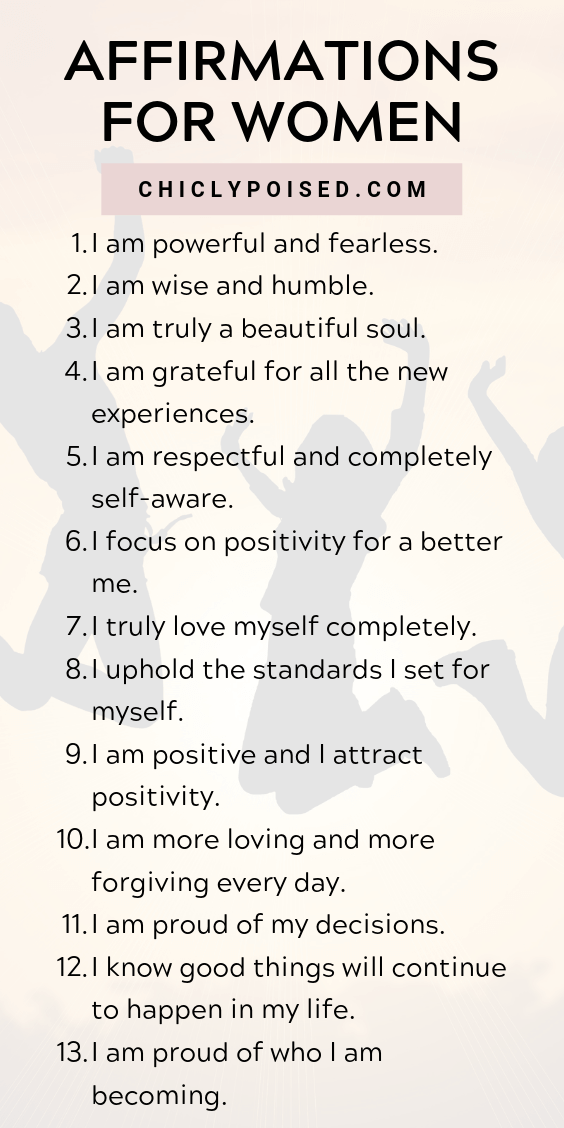 Positive Affirmations List for Women