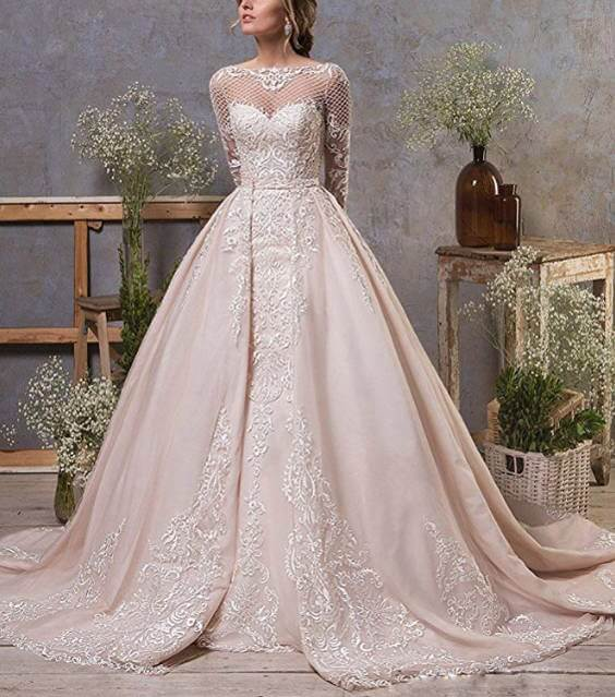 Removable Train Mermaid Wedding Dress Two Styles In One