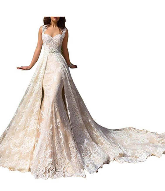 Removable Train Wedding Dress Lace and Mermaid  Style