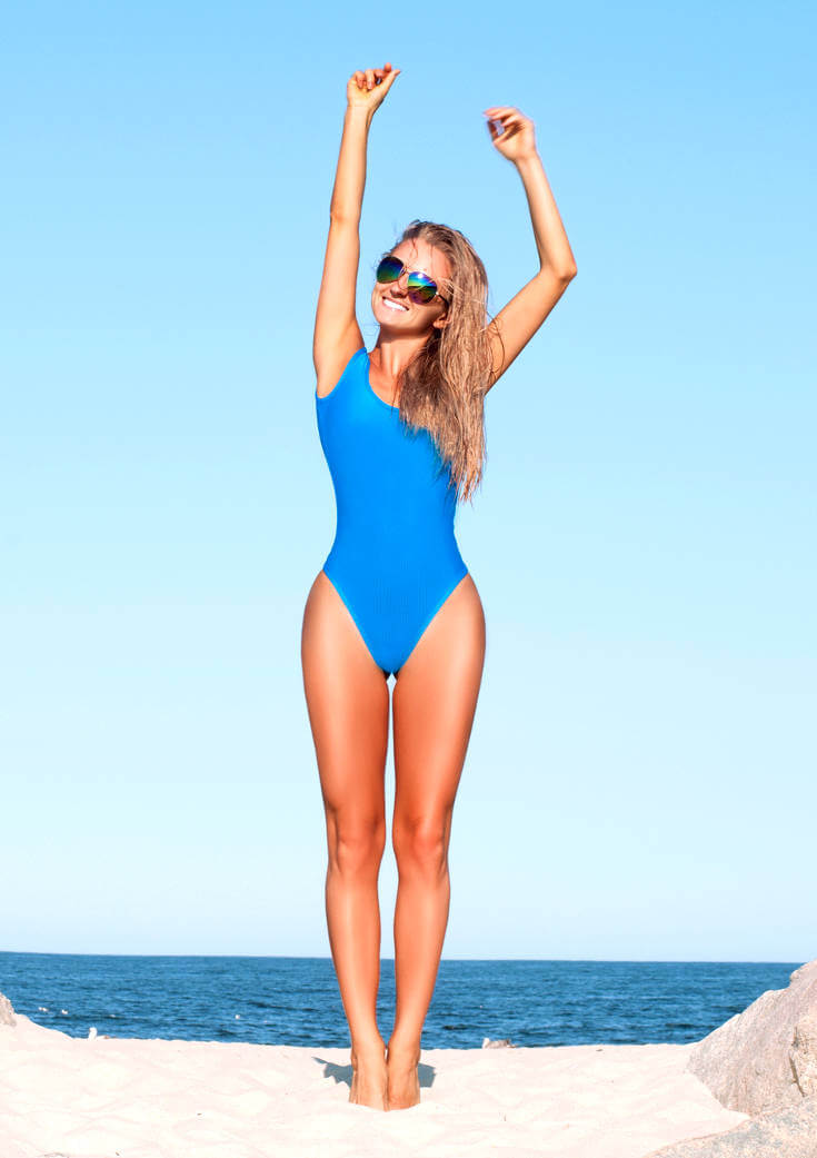 Sea Blue One Piece One Shoulder Bikini Swimsuit