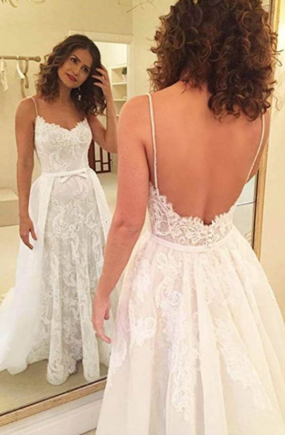 Spaghetti Straps Backless Lace Wedding Dresses With Removable Train Front and Back