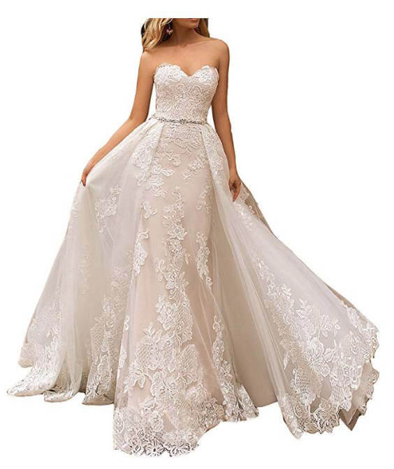 Sweetheart Floral Lace Mermaid Wedding Dress with Detachable Long Train Front