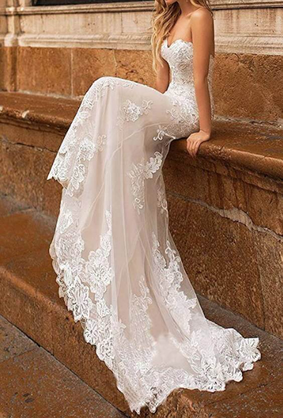 Sweetheart Floral Lace Mermaid Wedding Dress with Detachable Long Train