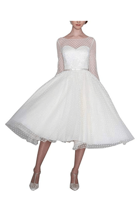 Tulle Vintage Tea-Length Ball Gown Wedding Dress