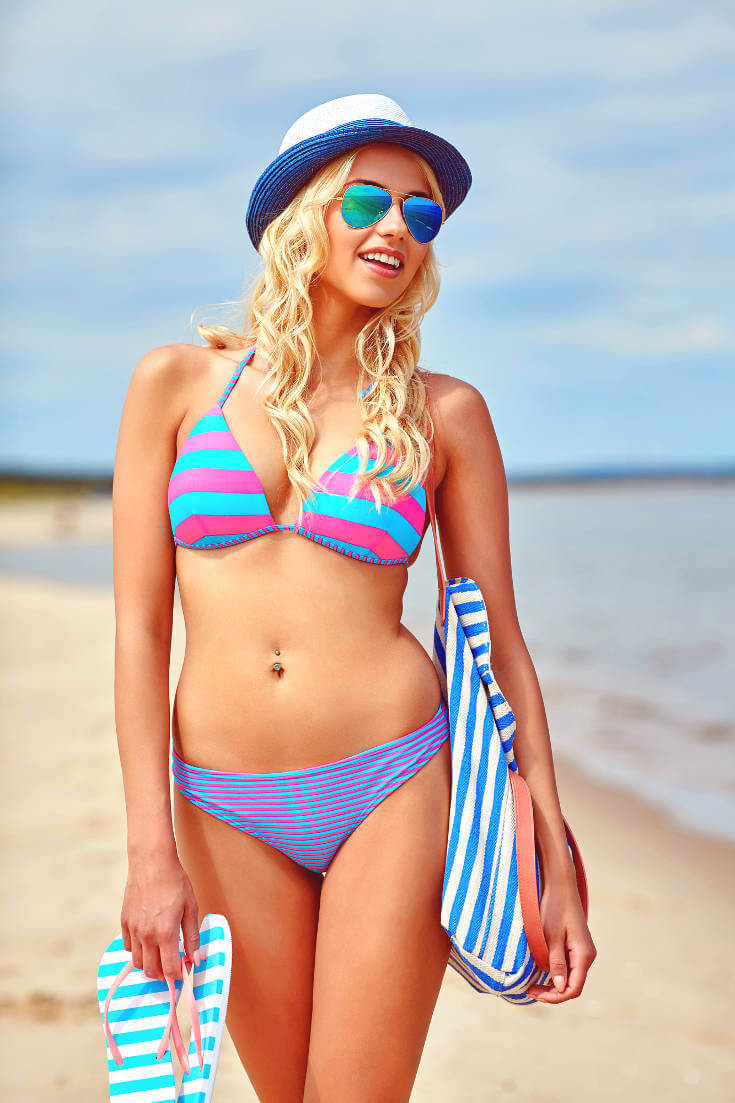 Two Piece Horizontal Stripes Bikini Swimwear Set