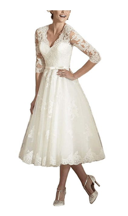 V Neck Long Sleeves Tea Length Short Wedding Dress