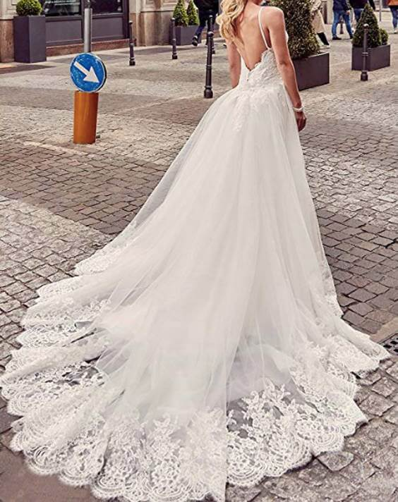 V-Neck Spaghetti Straps Mermaid Wedding Dress With Removable Train Back