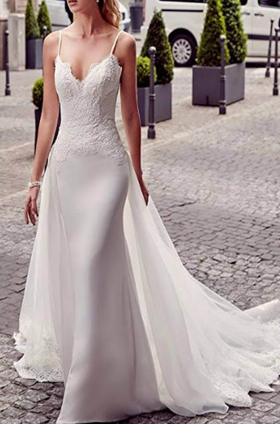 V-Neck Spaghetti Straps Mermaid Wedding Dress With Removable Train Front