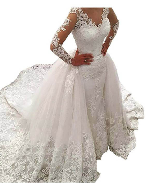 Vintage Lace Long Sleeve Wedding Dress with Detachable Train